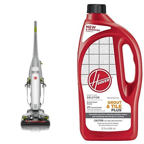 Hoover FloorMate Deluxe Hard Floor Cleaner, FH40160PC – Corded and Hoover 2X FloorMate Tile & Grout Plus Hard Floor Cleaning Solution 32 oz, AH30435 Bundle