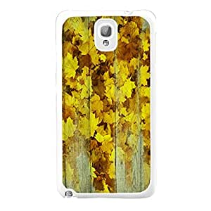 Retro Yellow Maple Leaves Wood Pattern Print Cell Phone Skin Case Cover Design for Smasung Galaxy Note 3 N9005