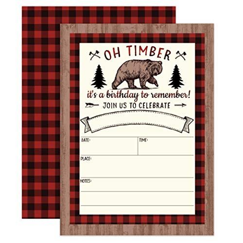 Lumberjack Birthday Invitation, Bear Boy Birthday Invitation, Bear, Fox, Forest, Woods Birthday Invite, 20 Fill in Invitations and Envelopes ()