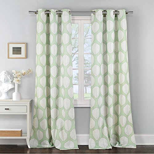 Duck River Textiles - Zaria Floral Leaf Print Linen Textured Grommet Top Window Curtains for Living Room & Bedroom - Assorted Colors - Set of 2 Panels (38 X 84 Inch - Green)