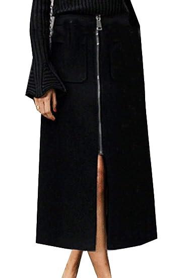 Andopa Falda larga más el tamaño de Highwaist Zip Delgado ajustado ...