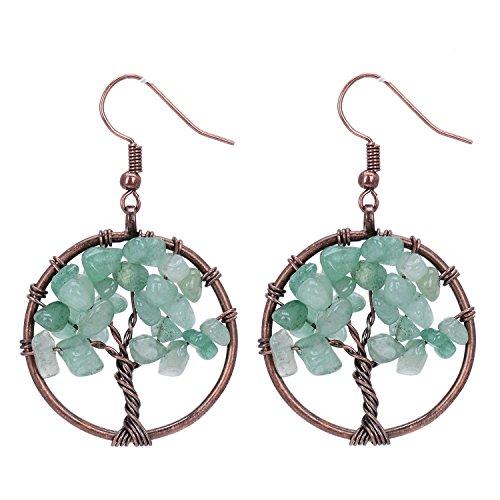 Sedmart Tree of Life Green Aventurine Pendant Earrings Gemstone Chakra Jewelry Gifts (Good Luck Gemstones)