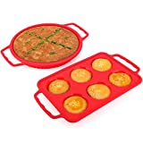 Nuovoware Silicone Baking Molds, [2 PACK] Food Grade Silicone Reusable Cake Molds Non-Stick Muffin Baking Cups and Heat-Resistant Circular Cupcake Pan for Pies, Cakes, Pizza and Loaf, Red