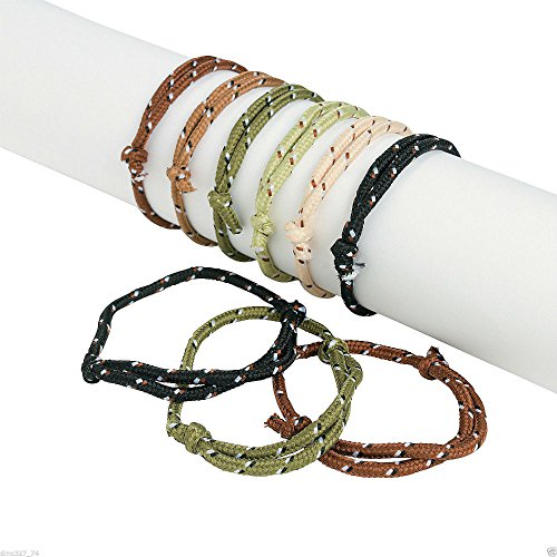 72 Birthday Party Favors ARMY CAMO CAMOUFLAGE ROPE Friendship BRACELETS U.S Top (Nylon Friendship Rope Bracelets)