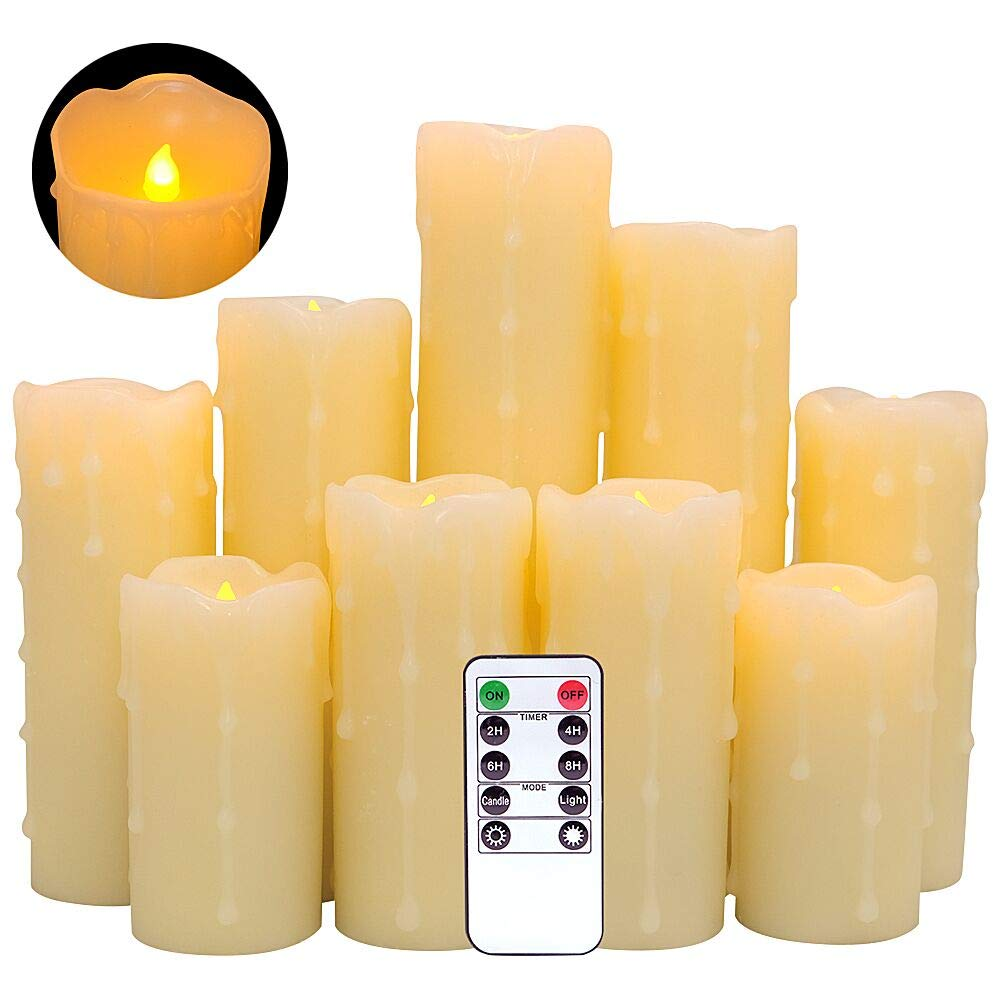 DDXJ Flameless Flickering Candles Battery Operated with Remote and Timer, Set of 9 Dripping Real Wax Warm Light LED Pillar Candles for Holiday, Christmas Decoration(Ivory, 2.2''D x 4''-9''H)