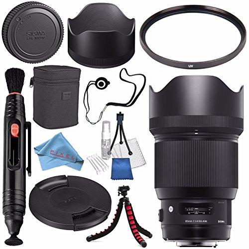 Sigma 85mm f/1.4 DG HSM Art Lens for Nikon F #321955 + 86mm UV Filter + Lens Pen Cleaner + Fibercloth + Lens Capkeeper + Deluxe Cleaning Kit + Flexible Tripod Bundle