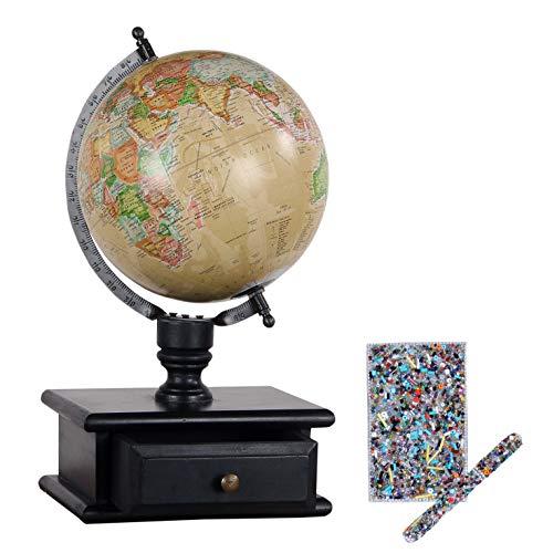 Decoriny Kandy Vintage Wooden Storage Drawer Globe with Decorative Pen and Diary Set Globe, Beige