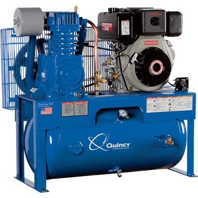 - Quincy QT-7.5 Splash Lubricated Reciprocating Air Compressor - 10 HP Yanmar Diesel Engine, 30-Gallon Horizontal, Model# D207Y30HC