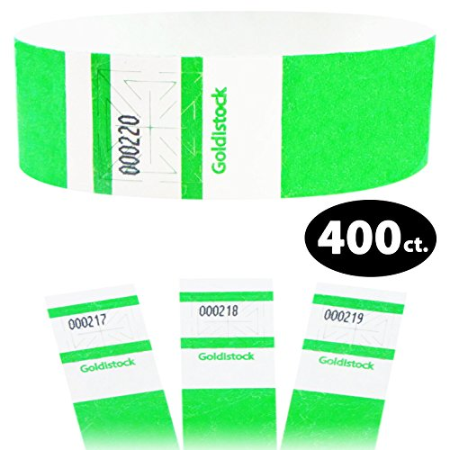 Goldistock Maximum Security One Inch Tyvek Wristbands Select Series Day Glow Neon Green 400 Count - Event Identification Bands (Paper - Like -