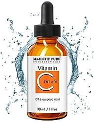 Majestic Pure Vitamin C Serum - Anti Aging Skin Brightening Facial Serum for Face and Neck with L-ascorbic Acid, 1 fl. oz.