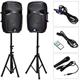 Suono 15'' Dual Powered Speakers, 3000W 2-Way Portable Loud Speaker With Stands, Microphone for Indoor Outdoor Party (Active+Passive Speakers + Stands)
