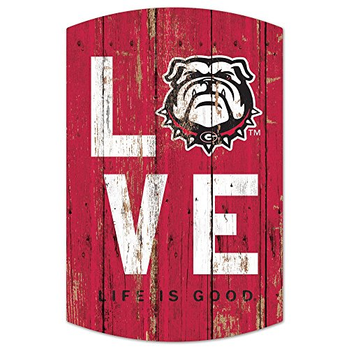 NCAA University of Georgia Bulldogs Love Plank Sign 11x17