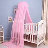 Meiyiu Baby Summer Universial Crib Mosquito Net for Infants Portable Cot Folding Canopy Netting Protector Without Bracket Pink Mosquito net (Without Bracket)