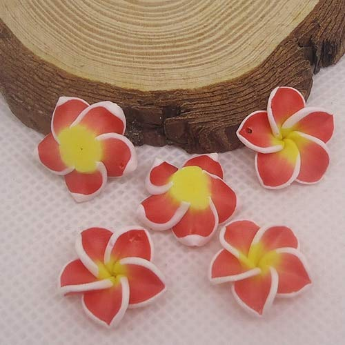 - Pukido 20pc/lot 20mm Yiwu Market Beautiful Soft Clay Polymer Fimo Plumeria Flower Beads Decorated Hawaii Earring Jewelry Craft Material - (Color: red)