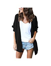 Lrud Women's Loose Knited Cardigan Long Sleeve Casual Open Front Sweater Coat
