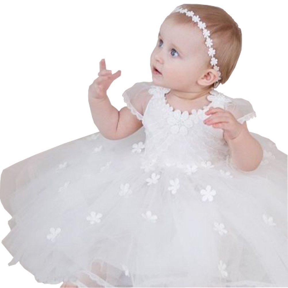 Michealboy Christening Girls Lovely Lace Flower 2PC Dress White Tulle