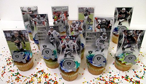 OAKLAND RAIDERS 24 Piece Birthday Party Cupcake Party Favors Set Featuring 12 Raiders Helmet Rings and 12 Raiders Players Football Cards with Carr, Cooper, (Raiders Birthday)