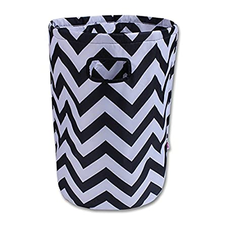 57 x 37 cm, Large, Round, Grey and White Chevron Minene Laundry Hamper Bag Basket Organiser
