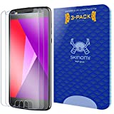 Motorola Moto Z2 Play Screen Protector (3-Pack), Skinomi Tech Glass Screen Protector for Motorola Moto Z2 Play Clear HD and 9H Hardness Ballistic Tempered Glass Shield