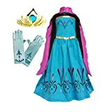 American vogue Elsa Coronation Dress Costume + Cape + Gloves + Tiara Crown