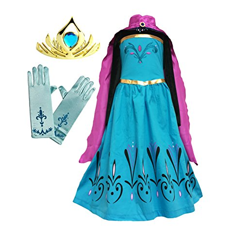American Vogue Elsa Coronation Dress Costume + Cape + Gloves + Tiara Crown (7 Years, Blue) -