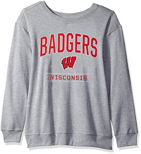 (J America NCAA Wisconsin Badgers Womens NCAA Women's Light Weight Oversized Fleece, Medium, Oxford)