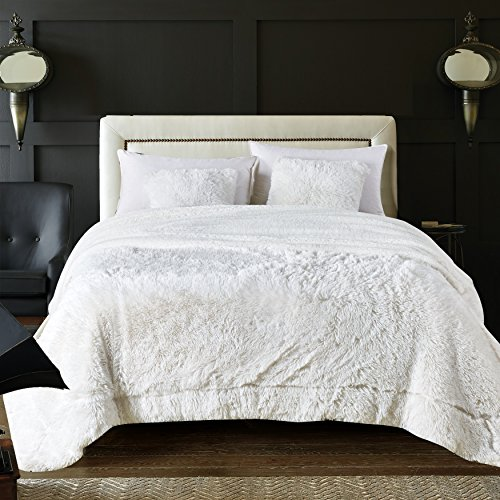 Chanasya Super Soft Shaggy Longfur Throw Blanket | Snuggly Fuzzy Faux Fur Lightweight Warm Elegant Cozy Plush Sherpa Fleece Microfiber Blanket | for Bed Couch Living Bed Room - King - White ()
