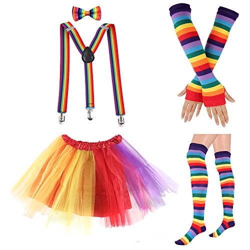 80s Womens Accessory,Tutu Skirt,Unicorn Headband, Unicorn Wigs Rainbow Long Gloves Socks,Rainbow Adjustable Suspenders w/Bow-tie (1-C) -
