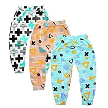 Summer 3-Pack Baby Boys Girls Cartoon Fox Crossed Elastic Waist PP Ankle Pants