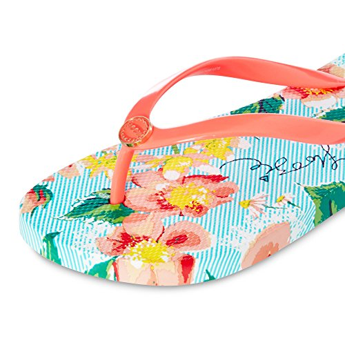 Debenhams Floozie by Frost French Womens Multi-Coloured Pinstripe Rose Flip Flops X24zMeUR0h