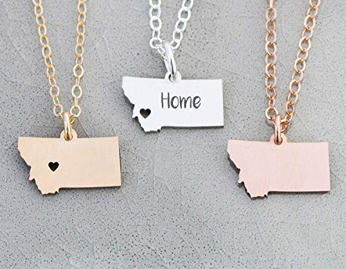 Montana Charm - IBD - Home State Pride - Personalize Name Coordinates - Pendant Size Options - 935 Sterling Silver 14K Rose Gold Filled Charm