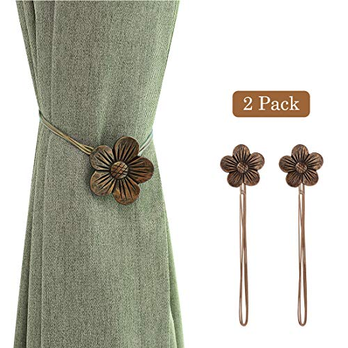 Lewondr Vintage Magnetic Curtain Tieback, 1 Pair Resin Flower Curtain Drapery Holdback Window Curtain Decorative Buckle Holder for Home Cafe Balcony - Coffee
