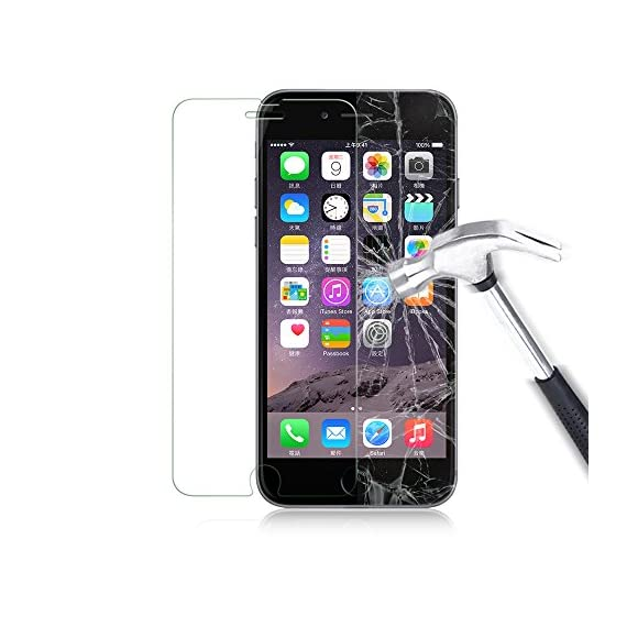 Luvvitt Tempered Glass Screen Protector for Apple iPhone 7 (2016) and iPhone 8 (2017) - Crystal Clear 6 iPHONE 7 TEMPERED GLASS SCREEN PROTECTOR: Compatible with iPhone 7. Doesn't interfere with the fingerprint home button. PREMIUM GRADE: Japanese Asahi Tempered glass with 9H+ scratch resistant surface (almost as hard as a diamond with highest resistance at 10H) ULTRA CLEAR: Shock-resistant layer under the glass. High touch sensitity.