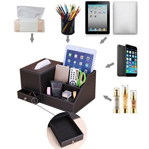 JHGJ Leather TV Remote Control Holder Organizer / Tissue Box / Controller TV Guide / Mail / Caddy for Desk / Caddy / Office / Pens / Pencils / Makeup Brushes / Nightstand / Holder (Black) by JHGJ (Image #4)