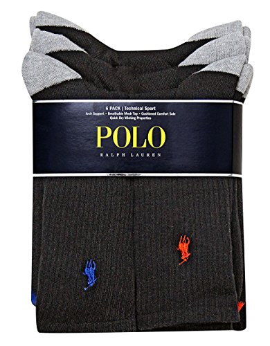 Polo Ralph Lauren 6-Pack Heel Toe and Arch Support Crew Socks Sz 10-13 Fits 6-12.5 Black Assorted