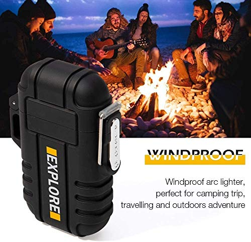 lcfun Waterproof Lighter Outdoor Windproof Lighter Dual Arc Electric Lighters Rechargeable-Flameless-Plasma Lighter for Camping,Hiking,Outdoor Adventure,Survival Tactical (Black)
