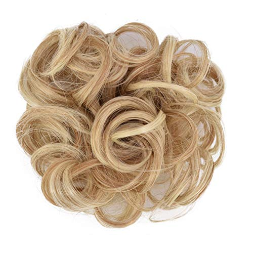 Tsengwen Hair Bun Messy Extensions Styling Cover Elastic Bobbles Wavy Wig