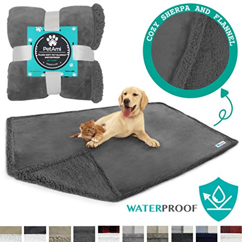 PetAmi Waterproof Dog Blanket for Bed Couch Sofa | Warm Sherpa Pet Throw Blanket | Super Soft Microfiber Fleece | Reversible Design for Puppy and Large Pet Dog | 60 x 80 Inches (Gray/Gray Sherpa)