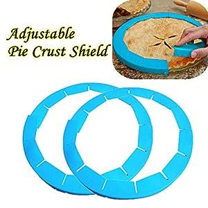 "Transer Adjustable Silicone Pie Crust Shield Pie Protectors, FDA Food-safe Silicone, Fit 8.5"" - 11.5"""