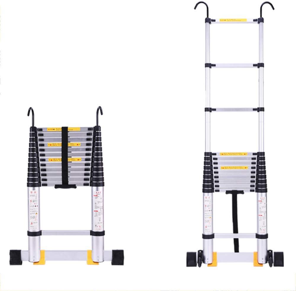 DD Escalera Telescópica Aluminio3.8M, Escalera Extensión Loft Telescópica Multiusos, EN131 Certified / 150 Kg Capacidad Carga (Tamaño : Straight ladder+hook): Amazon.es: Bricolaje y herramientas
