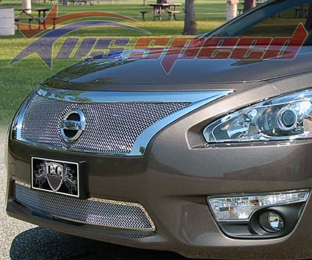 E&G Classics Nissan Altima Chrome Wire Mesh Grille 2PC - 13-15