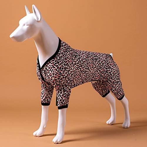 LovinPet - Ropa para perros grandes después de la cirugía / Estampados en rosa neón de guepardo de punto elástico cepillado doble / Protección UV, alivio de la ansiedad de las mascotas, pijama ligero para mascotas / Pijamas para perros de cobertura completa 4