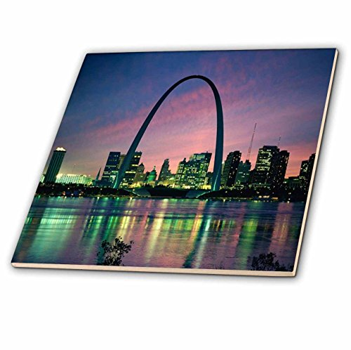 louis Missouri Arch At Nite-Ceramic Tile, 6