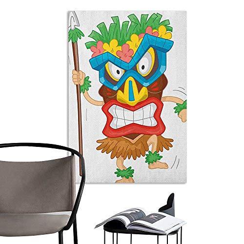 Jaydevn Decals for Home Room Decoration Tiki Bar Native Man Wearing a Mask Illustration Cartoon Tribal Costume Primitive Ritual Multicolor for Kids Rooms Boy Room W16 x H20