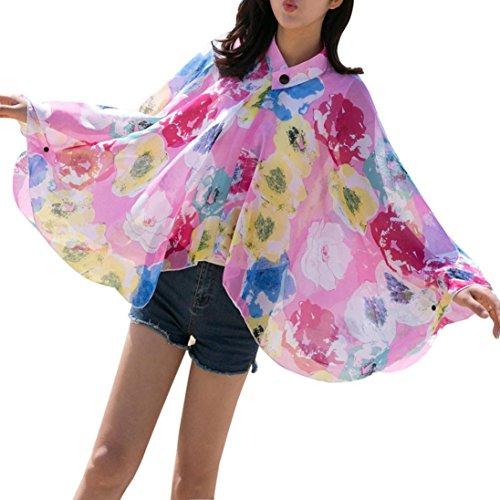 Chiffon Angel Wings Pink (Fheaven Women Sunscreen Shawl Chiffon Cover Up Clothes for Beach Vacation (Hot)