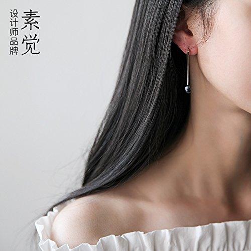 Pearl Earring BAGEHAN Handmade 925 Silberfärbung Pearl Ohrstecker Ohrringe Ohrringe Ohrringe Geschenk Frau Pearl Earring
