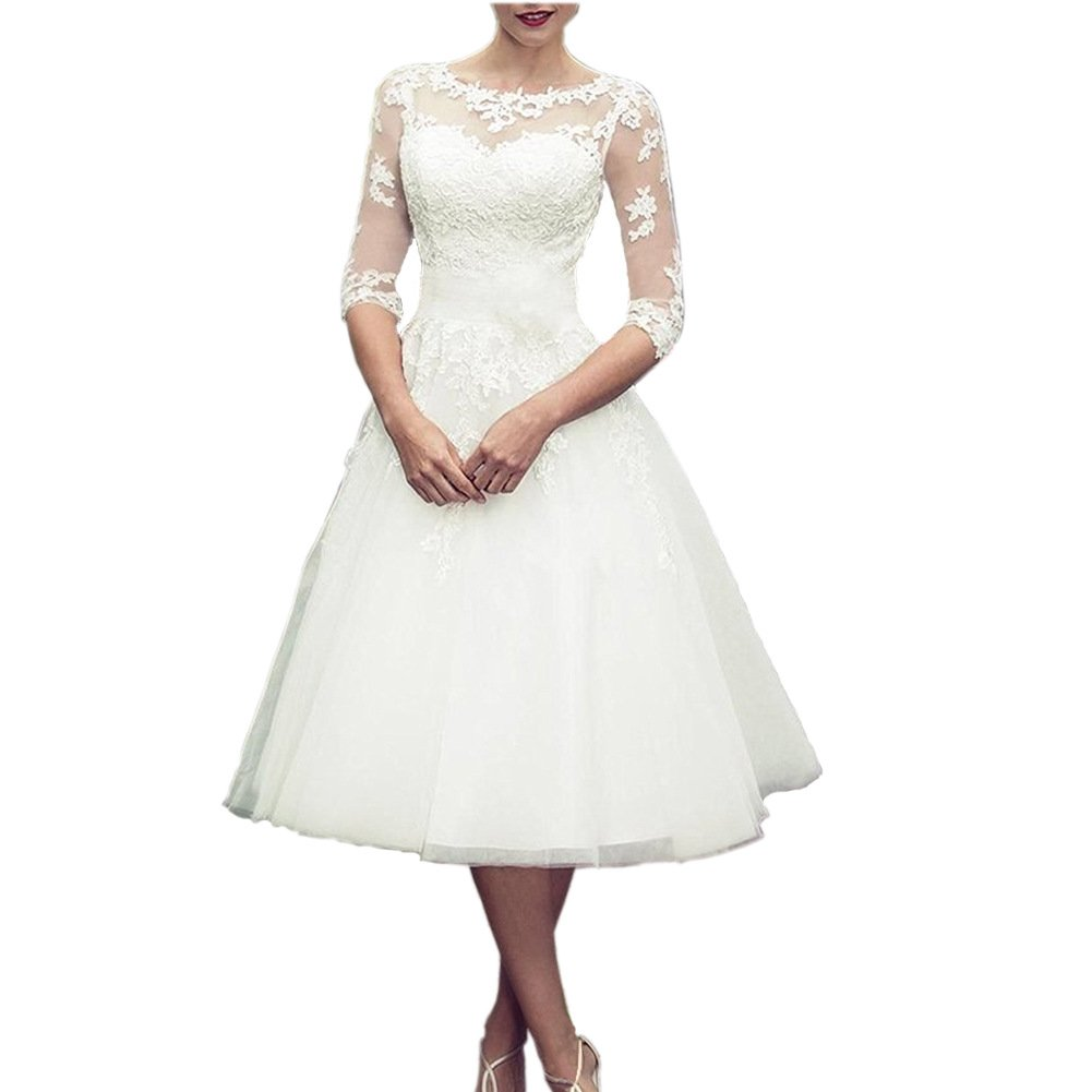 Qing Women\'s Wedding Dresses Scoop Long Sleeves Tea Length Short Wedding  Gowns Plus Size 12 White