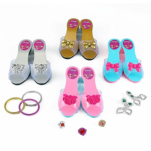 Princess Dress Up & Play Shoe and Jewelry Boutique (Includes 4 Pairs of Shoes + Multiple Fashion Accessories) – This dressup princess jewelry set is the best gift for girls age 2 – 10