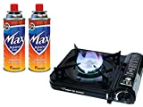 Max Burton 8253 Table Top Gas Burner (Black), 7650 BTU, Piezoelectric Ignition, Heavy Gauge Metal Body and Porcelain Enamel Coated Steel Drip Pan, Includes a Hard-Sided Plastic Carrying Case