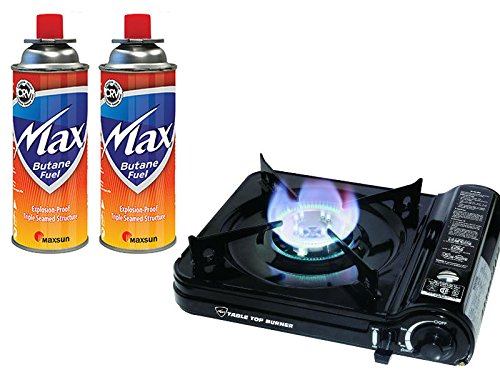 - Max Burton 8253 Table Top Gas Burner (Black), 7650 BTU, Piezoelectric Ignition, Heavy Gauge Metal Body and Porcelain Enamel Coated Steel Drip Pan, Includes a Hard-Sided Plastic Carrying Case